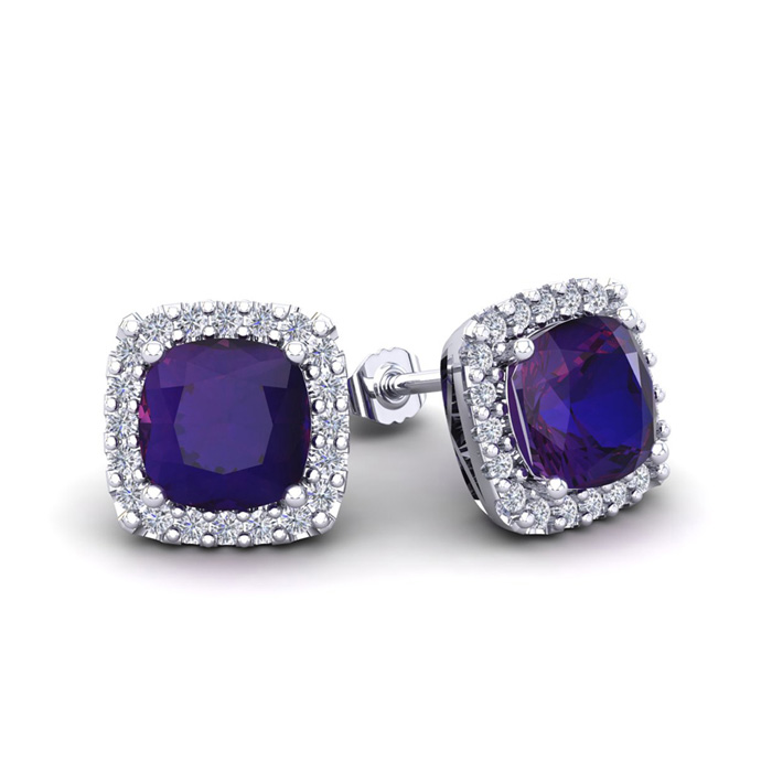 2 Carat Cushion Cut Amethyst & Halo Diamond Stud Earrings in 14K
