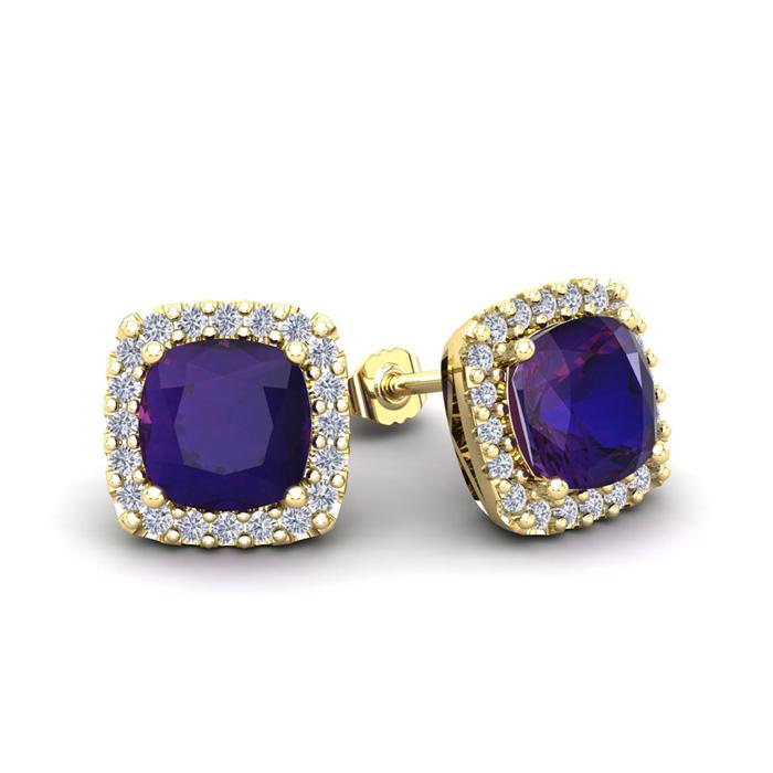 2 Carat Cushion Cut Amethyst & Halo Diamond Stud Earrings in 14K Yellow Gold (2.6 g), I/J by SuperJeweler