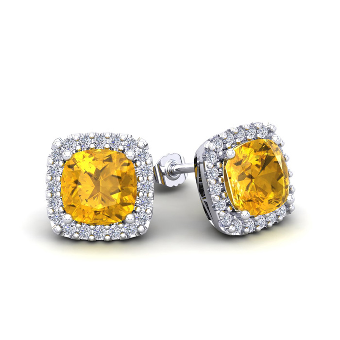 2 Carat Cushion Cut Citrine & Halo Diamond Stud Earrings in 14K W