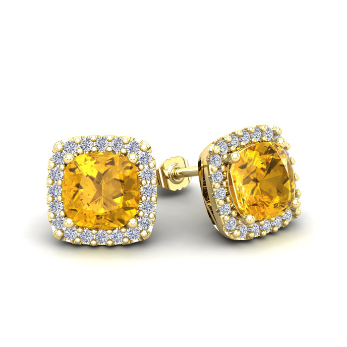 2 Carat Cushion Cut Citrine & Halo Diamond Stud Earrings in 14K Y