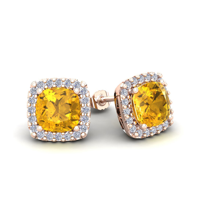 2 Carat Cushion Cut Citrine & Halo Diamond Stud Earrings in 14K R