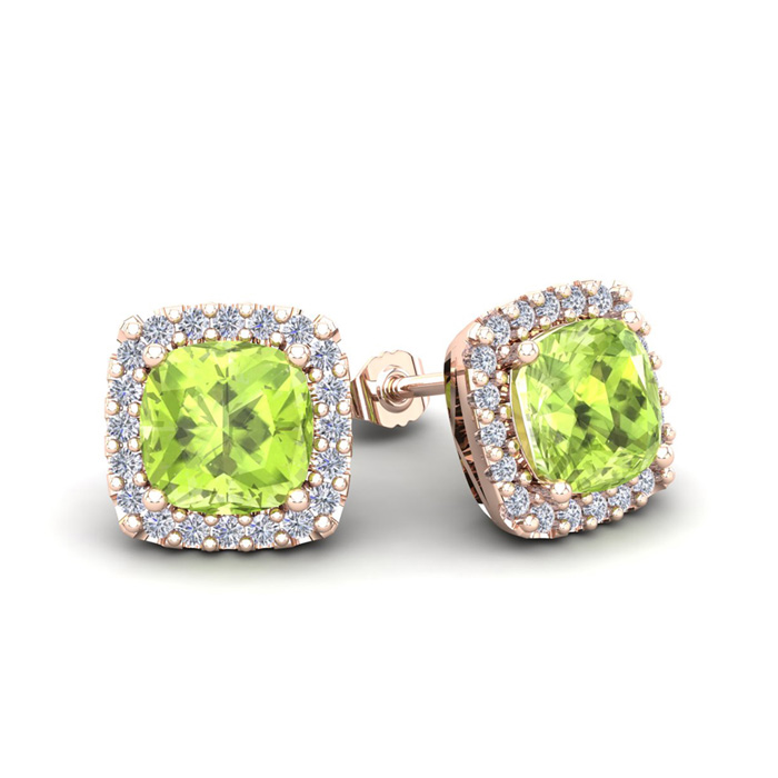 2 1/3 Carat Cushion Cut Peridot & Halo Diamond Stud Earrings in 1