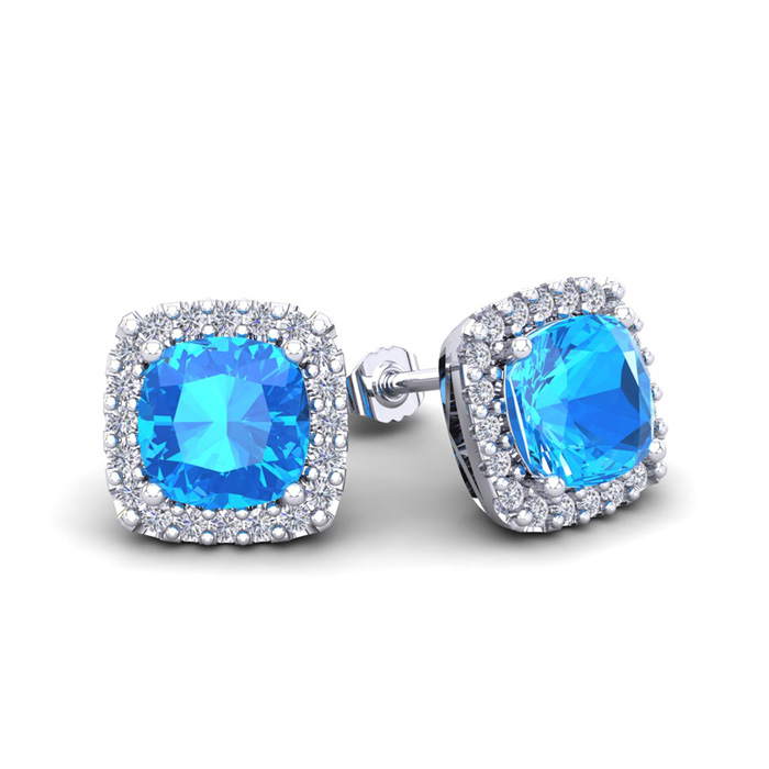 2.5 Carat Cushion Cut Blue Topaz & Halo Diamond Stud Earrings in