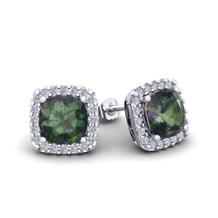 2.5 Carat Cushion Cut Mystic Topaz & Halo Diamond Stud Earrings in 14K White Gold (2.6 g), I/J by SuperJeweler