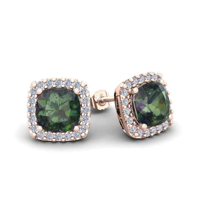 2.5 Carat Cushion Cut Mystic Topaz & Halo Diamond Stud Earrings i