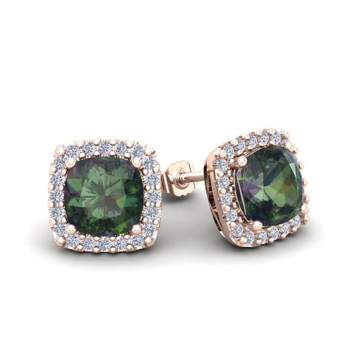 2.5 Carat Cushion Cut Mystic Topaz & Halo Diamond Stud Earrings in 14K Rose Gold (2.6 g), I/J by SuperJeweler