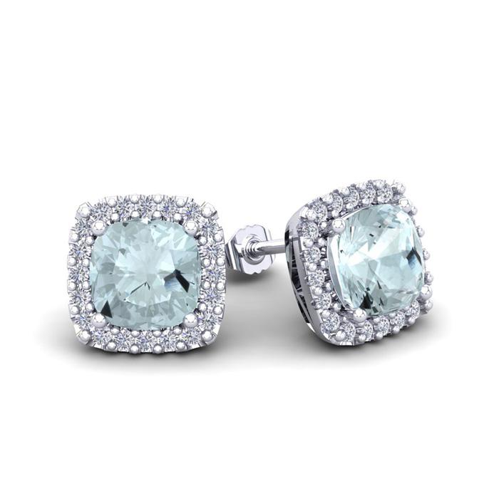 1.5 Carat Cushion Cut Aquamarine & Halo Diamond Stud Earrings in 14K White Gold (2.6 g), I/J by SuperJeweler
