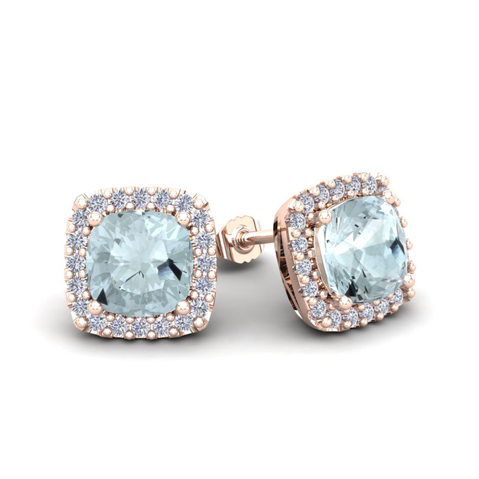 1.5 Carat Cushion Cut Aquamarine & Halo Diamond Stud Earrings in 14K Rose Gold (2.6 g), I/J by SuperJeweler