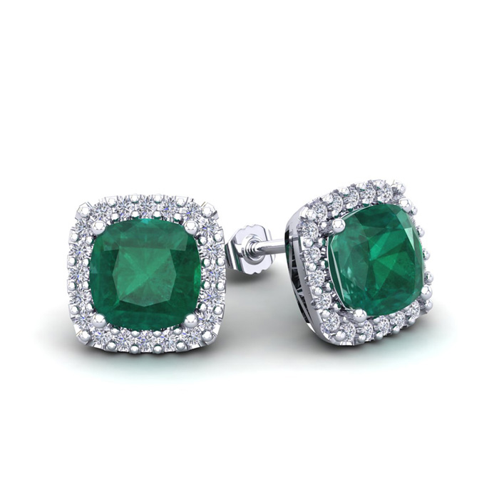 2.5 Carat Cushion Cut Emerald & Halo Diamond Stud Earrings in 14K White Gold (2.6 g), I/J by SuperJeweler