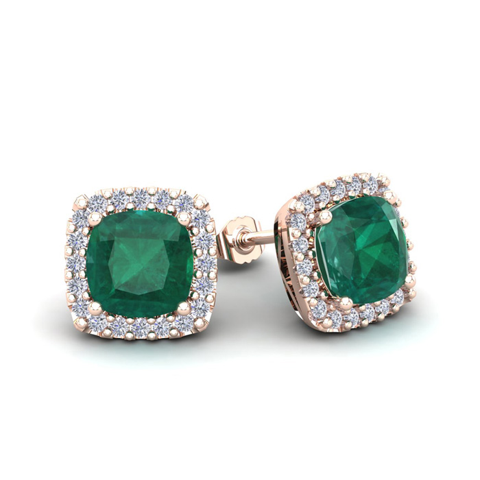 2 1/2 Carat Cushion Cut Emerald and Halo Diamond Stud Earrings In 14 Karat R..