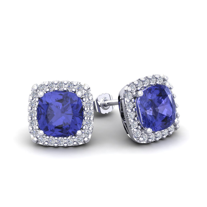 2 1/4 Carat Cushion Cut Tanzanite & Halo Diamond Stud Earrings in 14K White Gold (2.6 g), I/J by SuperJeweler