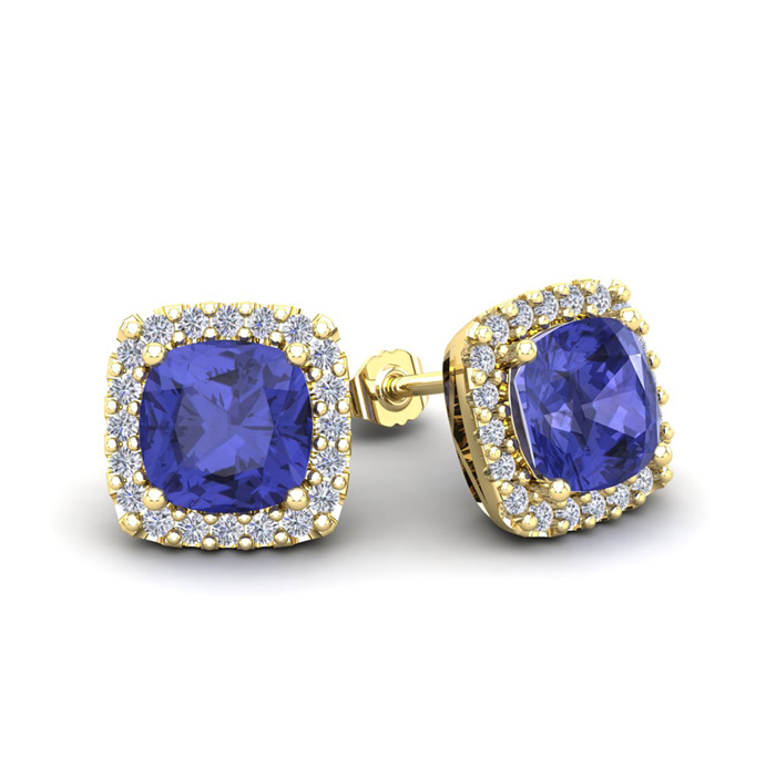 2 1/4 Carat Cushion Cut Tanzanite & Halo Diamond Stud Earrings in