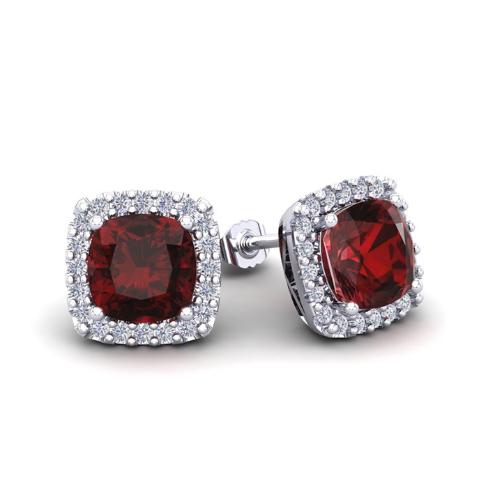 2 1/4 Carat Cushion Cut Garnet & Halo Diamond Stud Earrings in 14