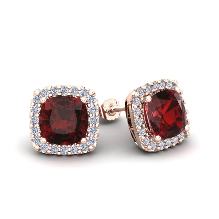 2.5 Carat Cushion Cut Garnet & Halo Diamond Stud Earrings in 14K