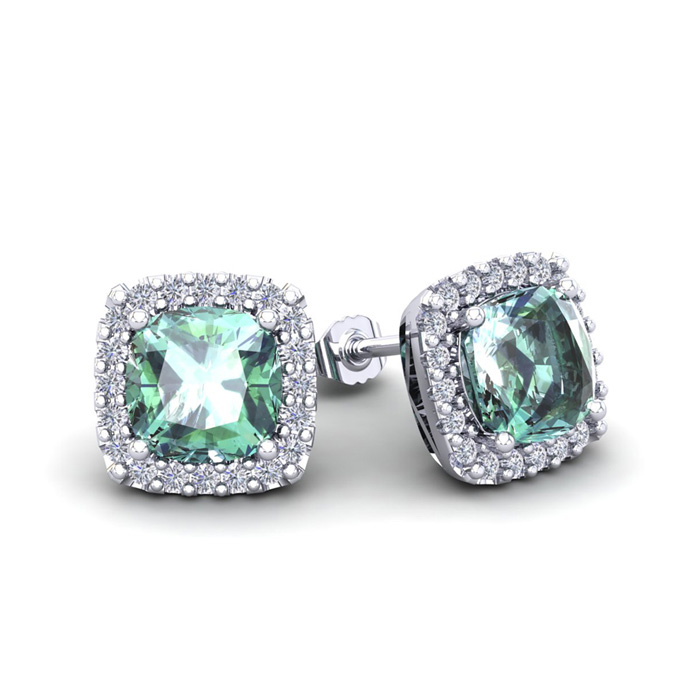 2 Carat Cushion Cut Green Amethyst & Halo Diamond Stud Earrings i
