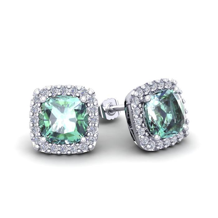 2 Carat Cushion Cut Green Amethyst & Halo Diamond Stud Earrings in 14K White Gold (2.6 g), I/J by SuperJeweler