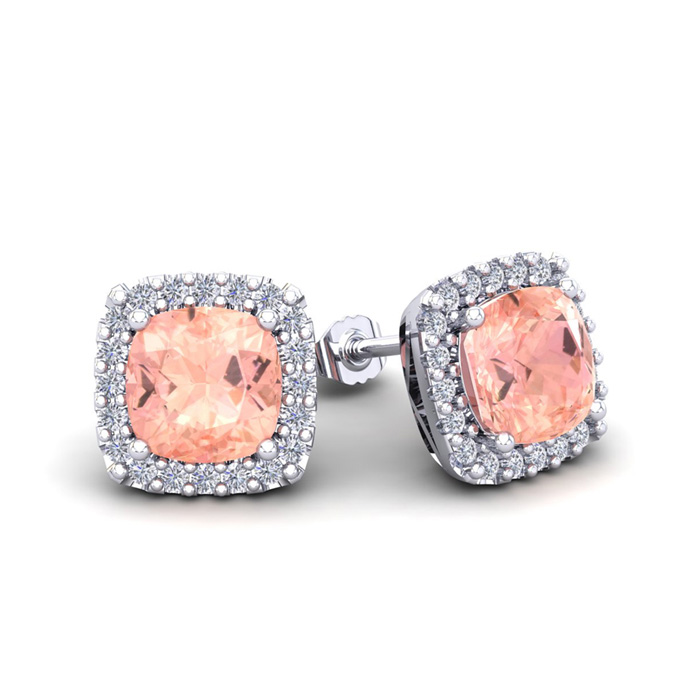 2 Carat Cushion Cut Morganite & Halo Diamond Stud Earrings in 14K