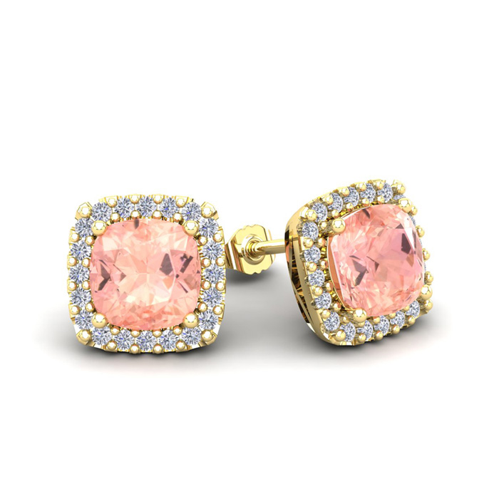 2 Carat Cushion Cut Morganite & Halo Diamond Stud Earrings in 14K Yellow Gold (2.6 g), I/J by SuperJeweler