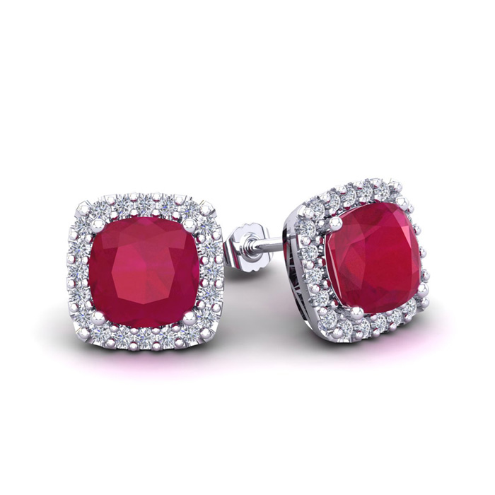 3 Carat Cushion Cut Ruby & Halo Diamond Stud Earrings in 14K Whit