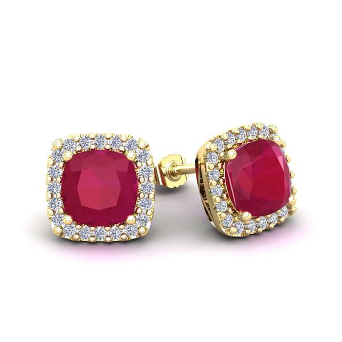 3 Carat Cushion Cut Ruby & Halo Diamond Stud Earrings in 14K Yell