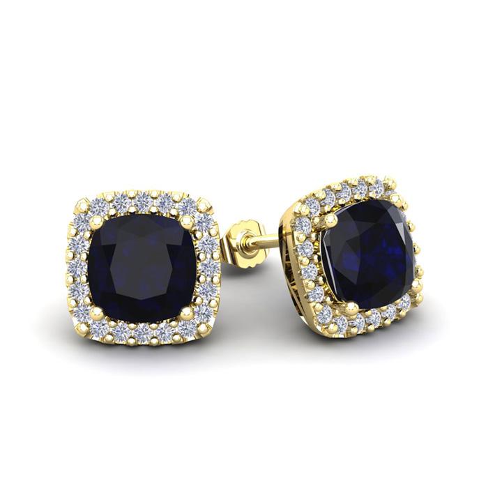 2 1/3 Carat Cushion Cut Sapphire & Halo Diamond Stud Earrings in