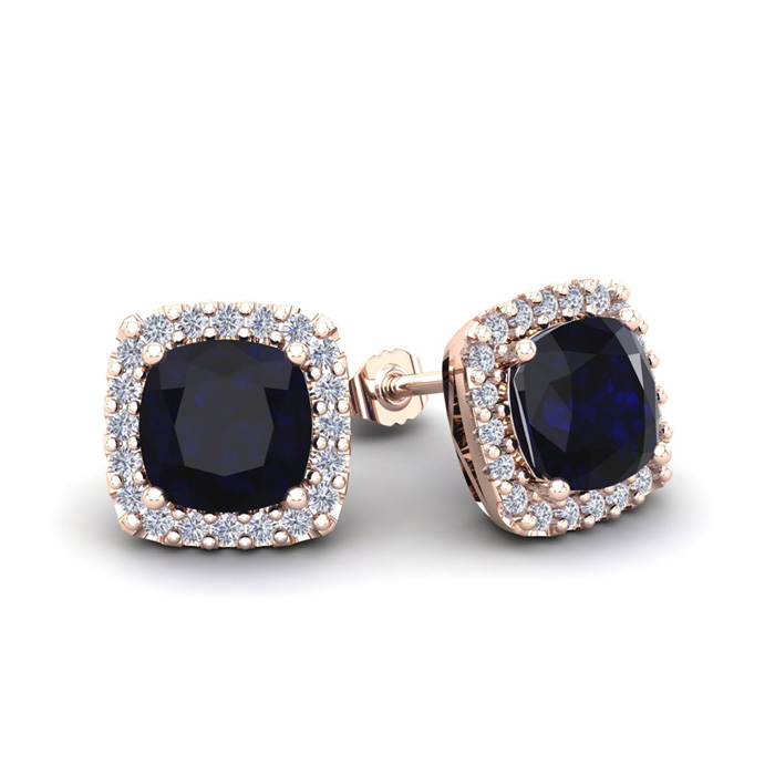 2 1/3 Carat Cushion Cut Sapphire & Halo Diamond Stud Earrings in