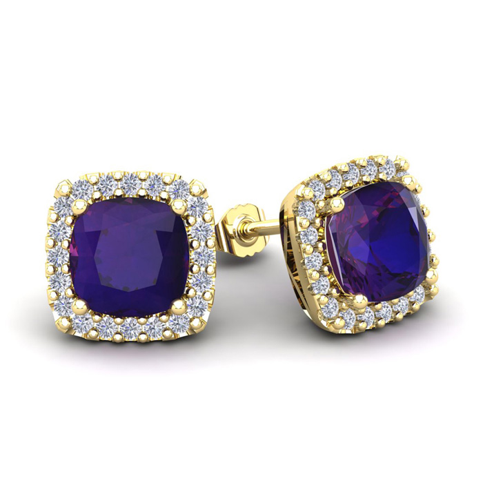 3 1/2 Carat Cushion Cut Amethyst & Halo Diamond Stud Earrings in 14K Yellow Gold (3.5 g), I/J by SuperJeweler
