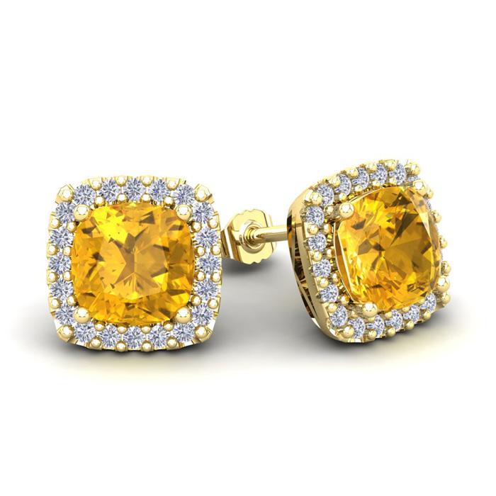 3 1/2 Carat Cushion Cut Citrine & Halo Diamond Stud Earrings in 14K Yellow Gold (3.5 g), I/J by SuperJeweler
