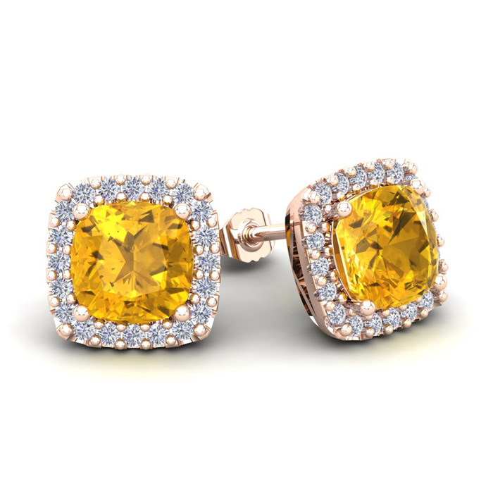 3 1/2 Carat Cushion Cut Citrine & Halo Diamond Stud Earrings in 1