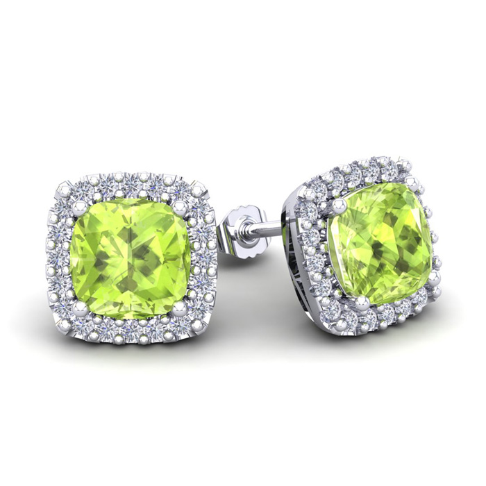 3 1/3 Carat Cushion Cut Peridot & Halo Diamond Stud Earrings in 1