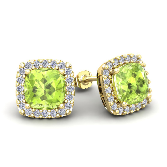 3 1/3 Carat Cushion Cut Peridot & Halo Diamond Stud Earrings in 14K Yellow Gold (3.5 g), I/J by SuperJeweler