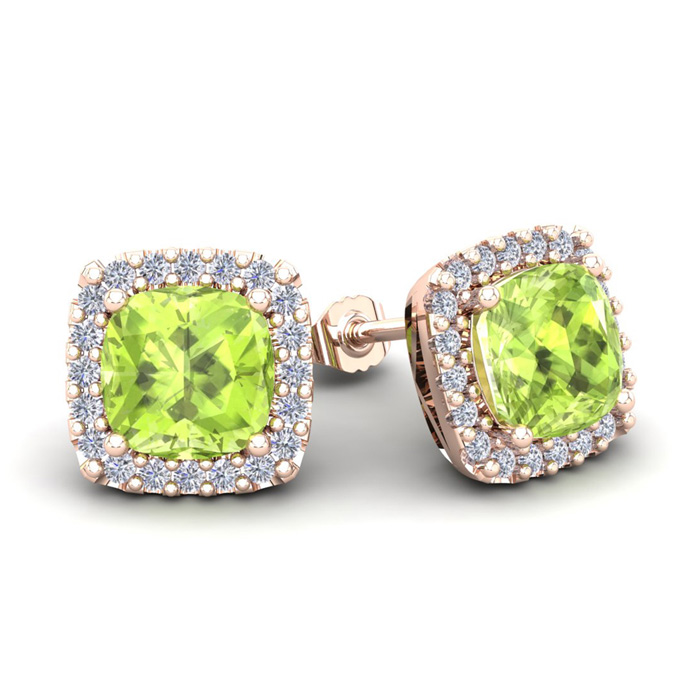 3 1/3 Carat Cushion Cut Peridot & Halo Diamond Stud Earrings in 14K Rose Gold (3.5 g), I/J by SuperJeweler