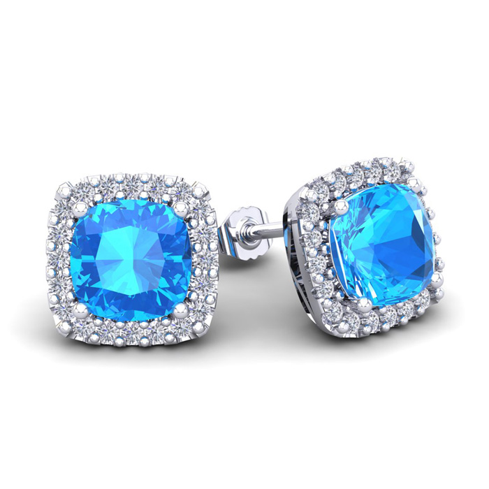 4 Carat Cushion Cut Blue Topaz & Halo Diamond Stud Earrings in 14