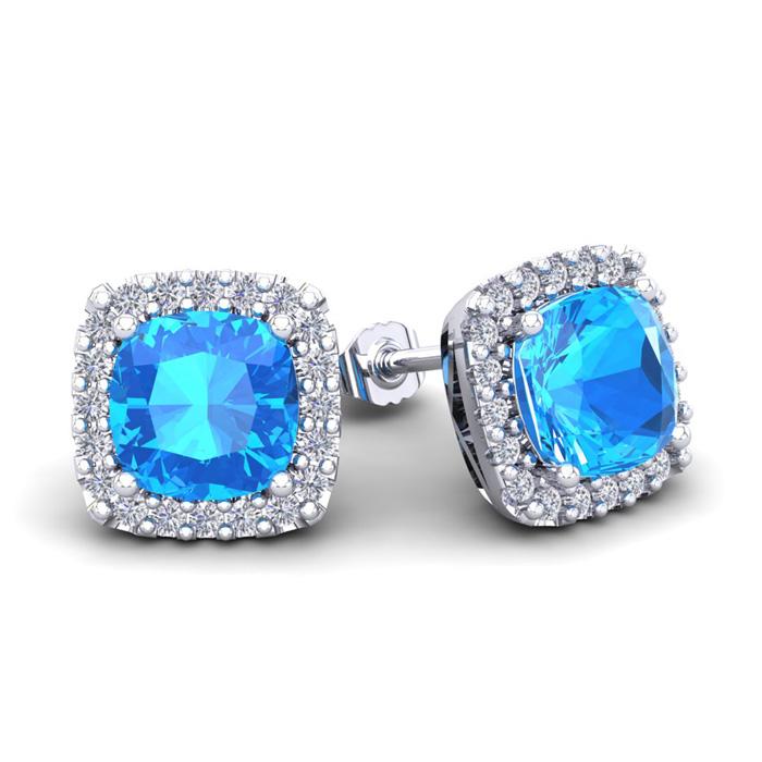 4 Carat Cushion Cut Blue Topaz & Halo Diamond Stud Earrings in 14K White Gold (3.5 g), I/J by SuperJeweler