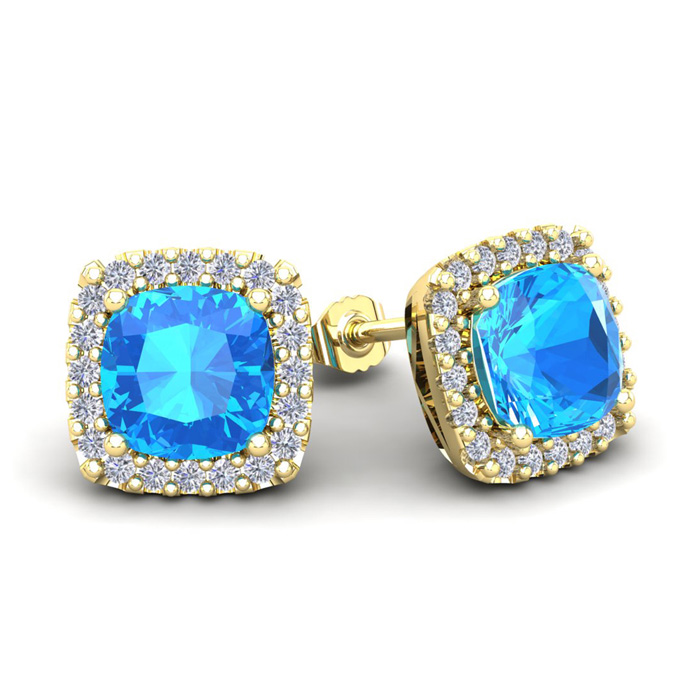 4 Carat Cushion Cut Blue Topaz & Halo Diamond Stud Earrings in 14K Yellow Gold (3.5 g), I/J by SuperJeweler