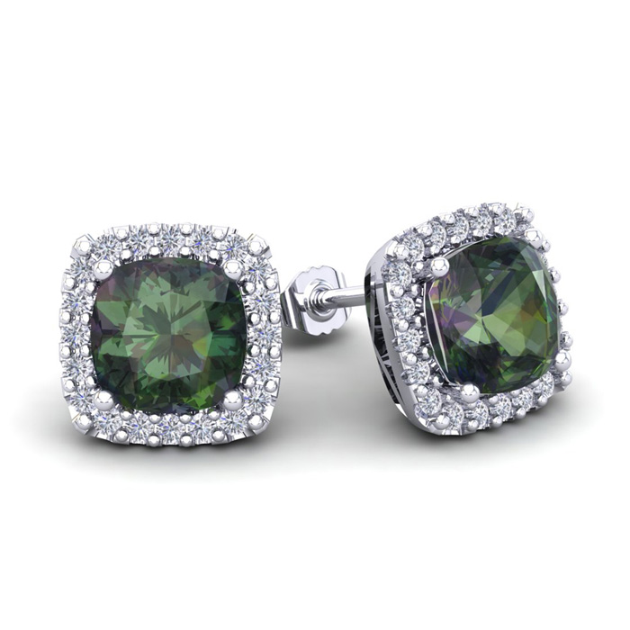 4 Carat Cushion Cut Mystic Topaz & Halo Diamond Stud Earrings in