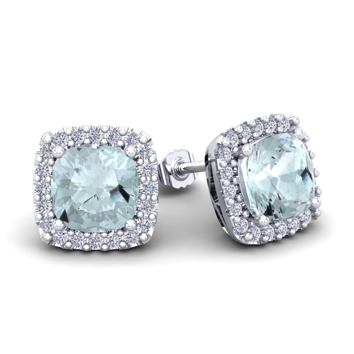 3 1/2 Carat Cushion Cut Aquamarine & Halo Diamond Stud Earrings in 14K White Gold (3.5 g), I/J by SuperJeweler