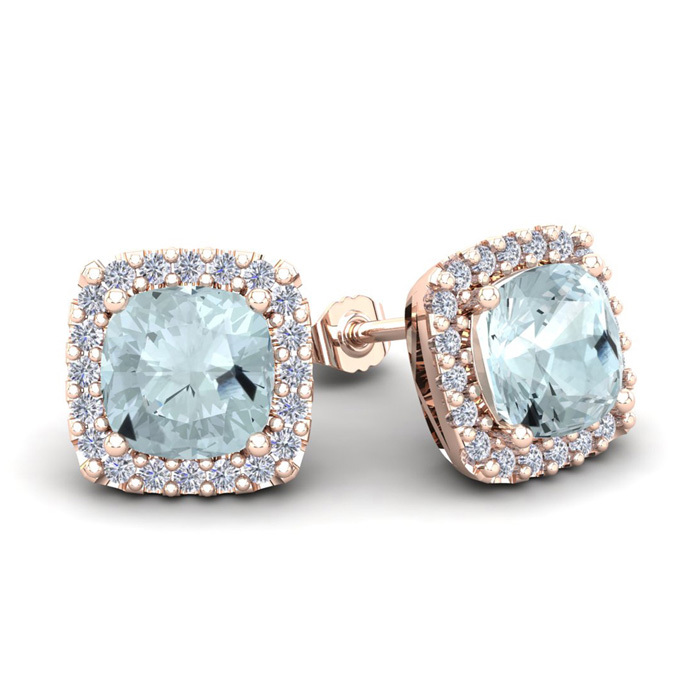 3 1/2 Carat Cushion Cut Aquamarine & Halo Diamond Stud Earrings in 14K Rose Gold (3.5 g), I/J by SuperJeweler
