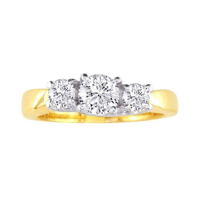 1/4 Carat Trellis Motif Three Diamond Engagement Ring in 10k Two Tone Gold, I/J by SuperJeweler