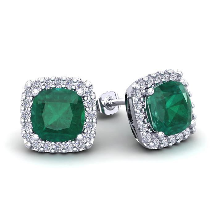 3 1/2 Carat Cushion Cut Emerald & Halo Diamond Stud Earrings in 14K White Gold (3.5 g), I/J by SuperJeweler