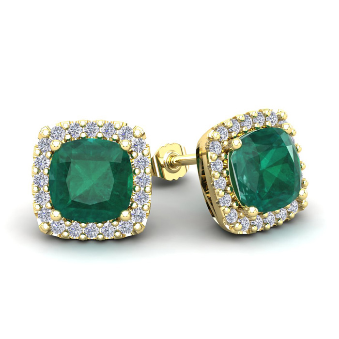 3 1/2 Carat Cushion Cut Emerald & Halo Diamond Stud Earrings in 14K Yellow Gold (3.5 g), I/J by SuperJeweler
