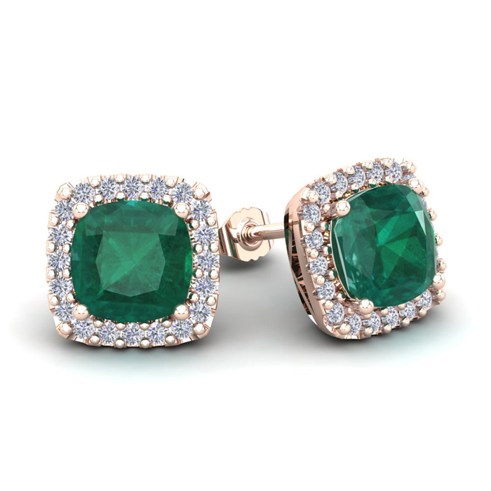3 1/2 Carat Cushion Cut Emerald & Halo Diamond Stud Earrings in 1