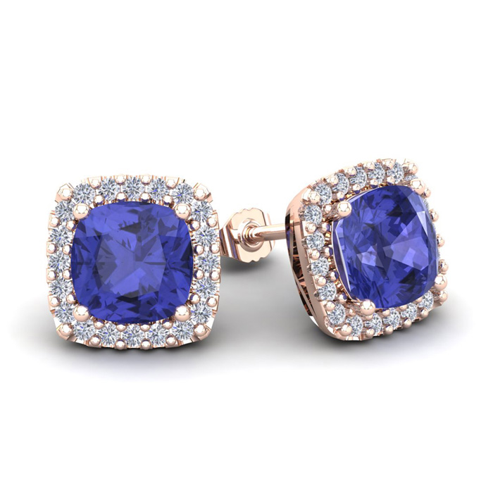 3 1/2 Carat Cushion Cut Tanzanite & Halo Diamond Stud Earrings in