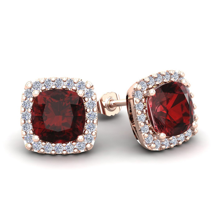 3 1/2 Carat Cushion Cut Garnet & Halo Diamond Stud Earrings in 14K Rose Gold (3.5 g), I/J by SuperJeweler