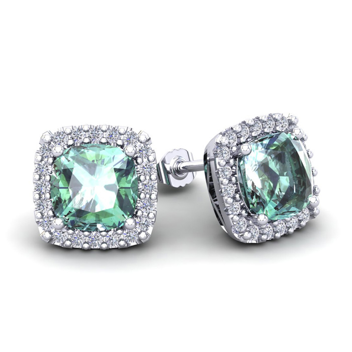 3 1/2 Carat Cushion Cut Green Amethyst & Halo Diamond Stud Earrin