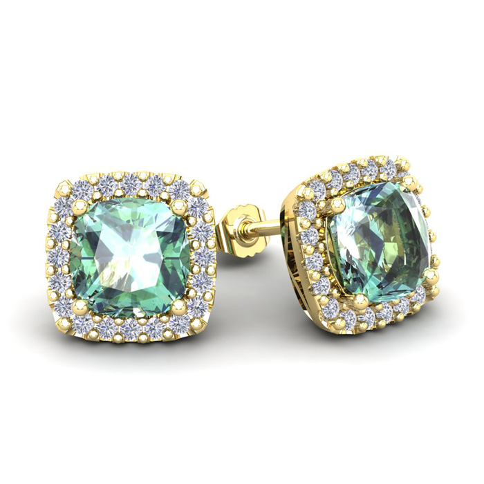 3 1/2 Carat Cushion Cut Green Amethyst & Halo Diamond Stud Earrings in 14K Yellow Gold (3.5 g), I/J by SuperJeweler