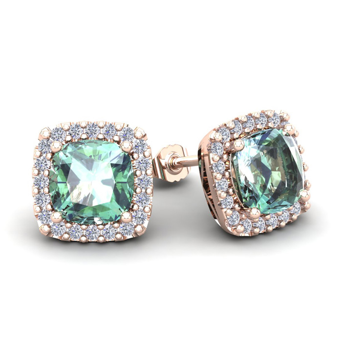 3 1/2 Carat Cushion Cut Green Amethyst & Halo Diamond Stud Earrings in 14K Rose Gold (3.5 g), I/J by SuperJeweler