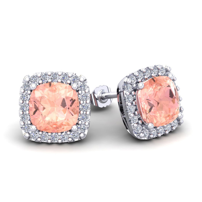 3 1/2 Carat Cushion Cut Morganite & Halo Diamond Stud Earrings in