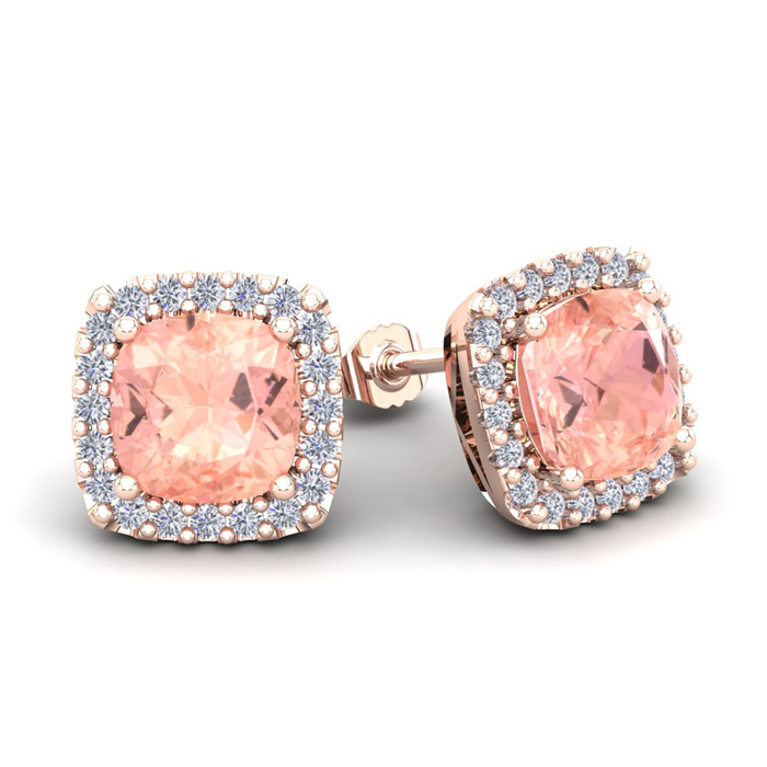 3 1/2 Carat Cushion Cut Morganite & Halo Diamond Stud Earrings in 14K Rose Gold (3.5 g), I/J by SuperJeweler