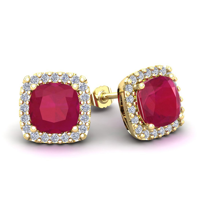 4 Carat Cushion Cut Ruby & Halo Diamond Stud Earrings in 14K Yell